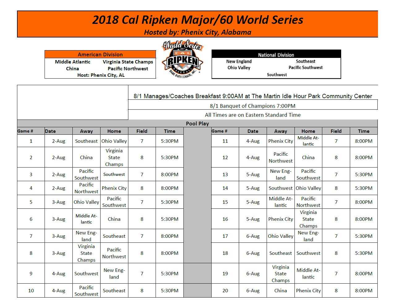 Our Mission | Cal Ripken World Series - Phenix City, Alabama